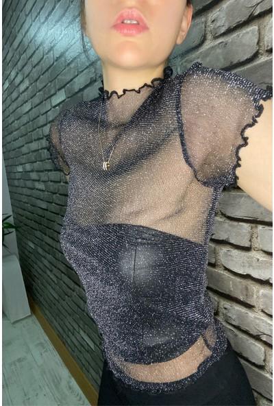 Nobasicbasic Kadın Simli Transparan Bluz