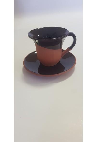 Modernica 6'lı Türk Kahvesi Fincanı Takım Seramik Toprak Sırlı 12 Parça