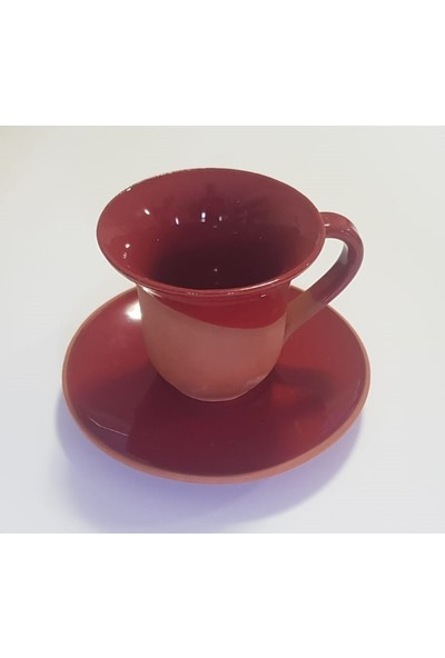 Modernica 6'lı Türk Kahvesi Fincanı Takım Seramik Toprak Sırlı 12 Parça Kırmızı
