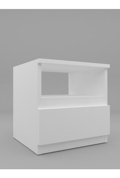 Mbes Mobilya Umut Beyaz 45 cm Komodin 1 Çekmeceli
