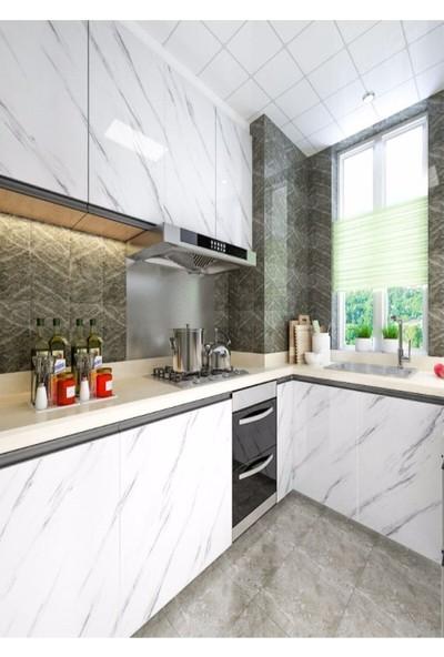 Turkish A2Z Mermer Desenli Mutfak Tezgah Üstü Yapışkanlı Folyo Beyaz