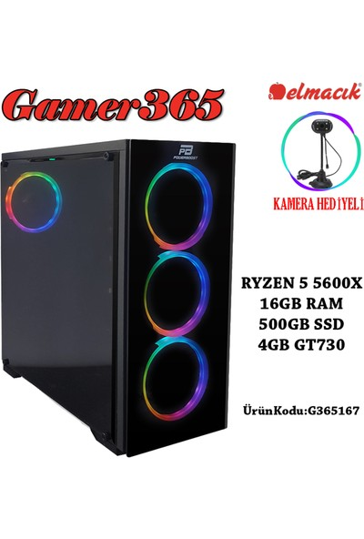 GAMER365 G365167 AMD Ryzen 5 5600X 16GB 500GB SSD GT730 Freedos Masaüstü Bilgisayar