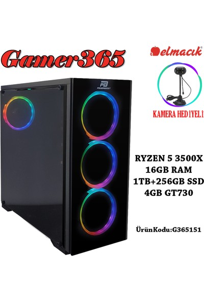 GAMER365 G365151 AMD Ryzen 5 3500X 16GB 1TB + 250GB SSD GT730 Freedos Masaüstü Bilgisayar