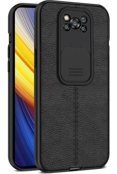 Teleplus Xiaomi Poco X3 Pro Kılıf Lensi Kamera Korumalı Deri Dokulu Silikon Siyah