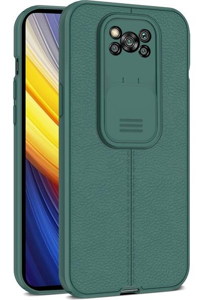 Teleplus Xiaomi Poco X3 Pro Kılıf Lensi Kamera Korumalı Deri Dokulu Silikon Yeşil