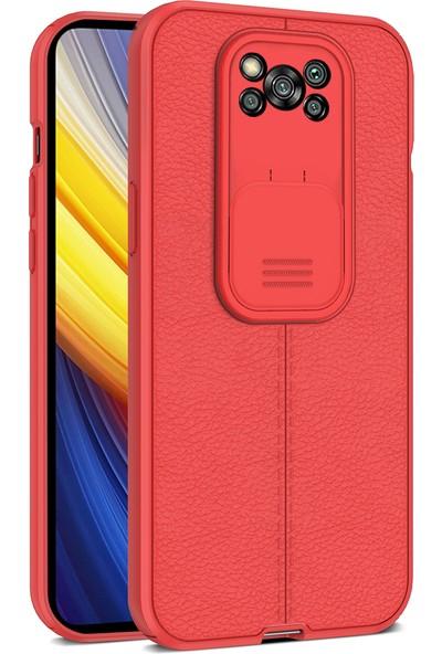 Teleplus Xiaomi Poco X3 Pro Kılıf Lensi Kamera Korumalı Deri Dokulu Silikon Kırmızı