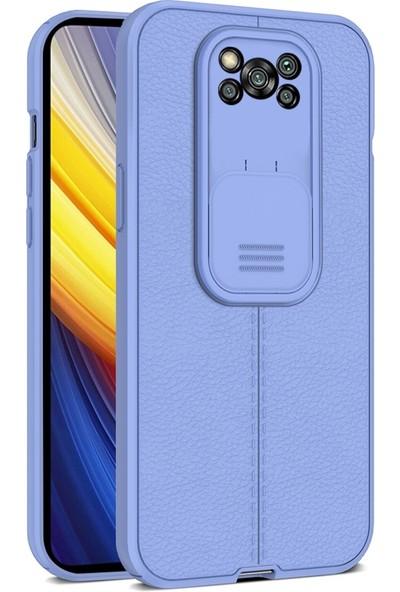 Teleplus Xiaomi Poco X3 Pro Kılıf Lensi Kamera Korumalı Deri Dokulu Silikon Mor