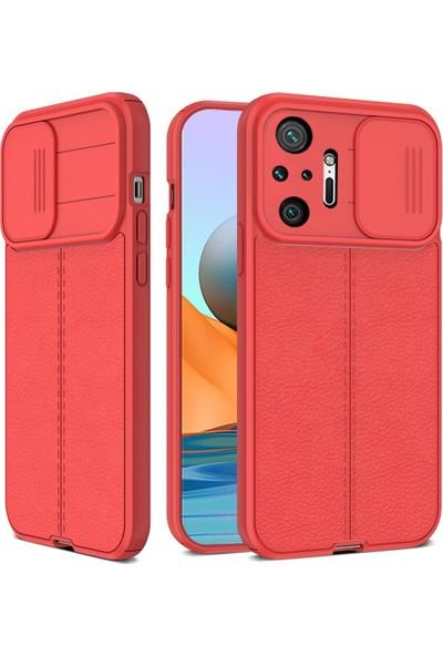 Teleplus Xiaomi Redmi Note 10 Pro Kılıf Lensi Kamera Korumalı Deri Dokulu Silikon Kırmızı