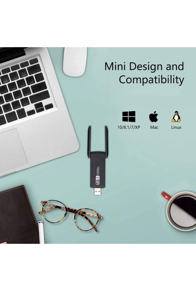 Kingboss AC1200 Mbps Dual Band USB 3.0 Adaptör Kablosuz Wifi Alıcı