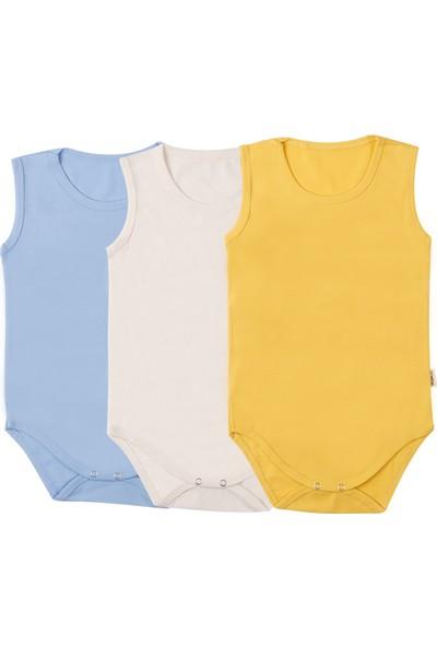 Mutlu Kids 3'lü Çıtçıtlı Body Set(Mavi-Sarı-Krem)