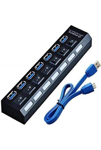 Us Technology 7 Port USB 3.0 Çoklayıcı Kablosu Dahil Onoff Düğmeli Işıklı Çoğaltıcı