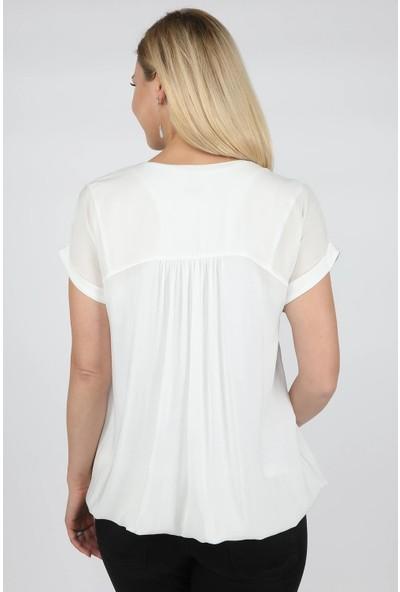 Balins Vual Payetli Bluz Beyaz