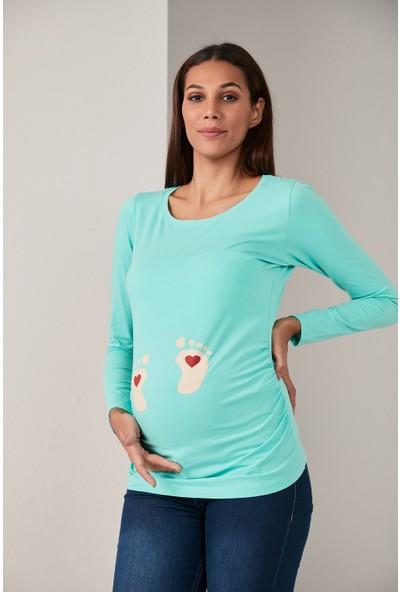 Gör&sin Kalpli Ayak Baskılı Çağla Yeşili Hamile Tişört L