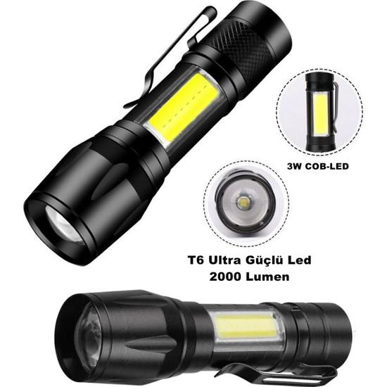 Yopigo OR-515 Ultra Güçlü Pilli LED El Feneri 2000 Lumen + 6W Cob LED Su Geçirmez Zoomlu 3 Modlu