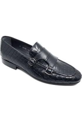 Fosco Erkek Tokalı Kroko Siyah Klasik Ayakkabı