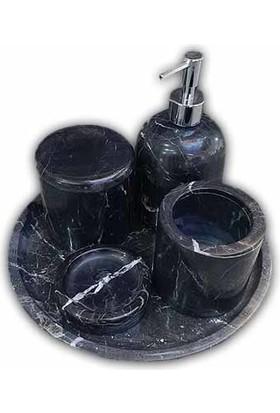 Mym Toros Siyah Mermer 5'li Banyo Seti