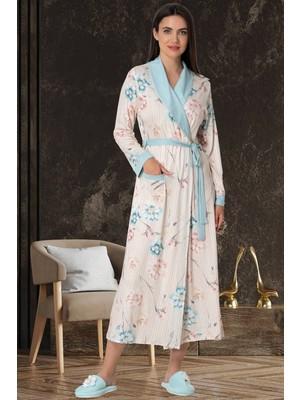 Mecit Pijama Mecit 5579 Turkuaz Çiçek Desen Sabahlıklı Gecelik Takım