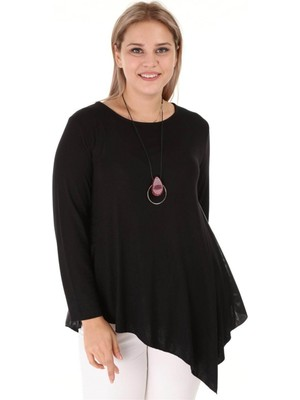 Kadın Siyah Büyük Beden Tunik - 4501