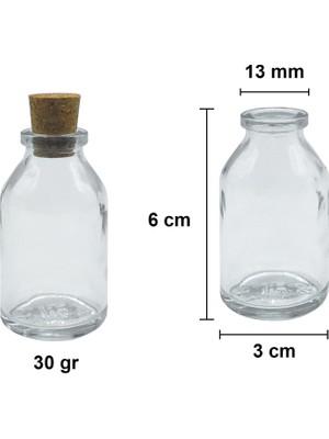 Güvenç Ambalaj 25 ml Penisilin Şişe Mantar Tıpalı Cam Şişe 10'lu