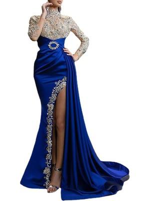 Luiisa Kadın Abiye Mavi Altın Yuvarlak Boyun Elbise Uzun Etek Kadın Elbise (Yurt Dışından)