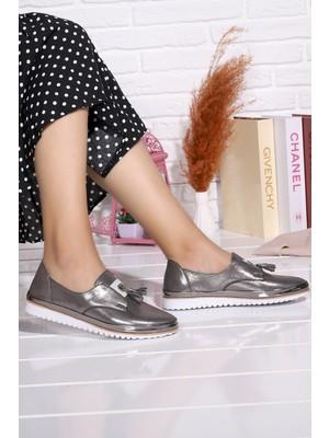 Potincim Cns 1001 Fiyonklu Kadın Günlük Babet Ayakkabı Platin