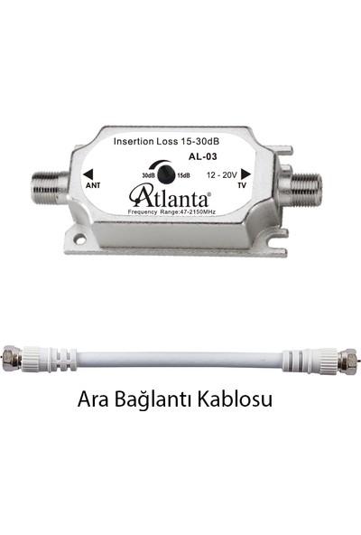 Atlanta AL-03 Ayarlanabilir Sinyal Hat Güçlendirici (15-30 DB) + Ara Bağlantı Kablosu