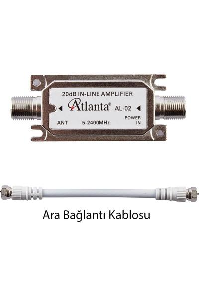 Atlanta AL-02 Sinyal Hat Güçlendirici Line Amplifier (20 dB) + Ara Bağlantı Kablosu