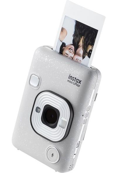 Instax Mini Liplay Hybrid Stone White Fotoğraf Makinesi Mega Seti
