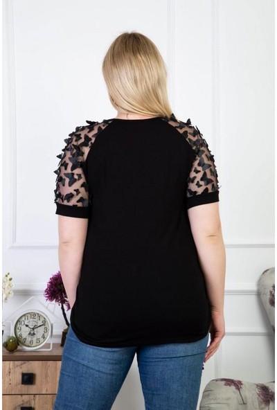 1fazlası Büyükbeden Organze Üzeri 3boyutlu Kelebek Detaylı Siyah Bluz
