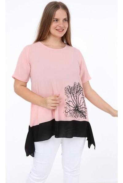1fazlası Fırfırlı Çiçek Baskılı Kısa Kol Büyük Beden Bluz