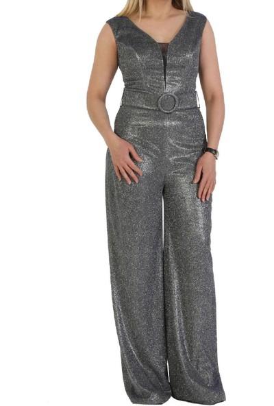 Günay Fierte Kadın Abiye Elbise CRD4532 V Yaka Kolsuz Simli Yanar Döner Parlak Kumaş Kemer Detay Bol Paça Spor Tulum Düğün Nişan Mezuniyet Siyah Mavi Gold Gümüş Kırmızı Lacivert Sarı Ekru