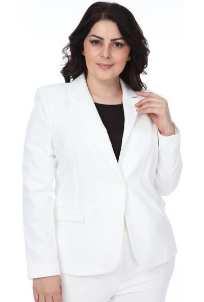 Günay Fierte Kadın Büyük Beden Ceket NVR10022 Erkek Yaka Tek Düğme Spor Blazer Astarlı Beyaz Lacivert Siyah