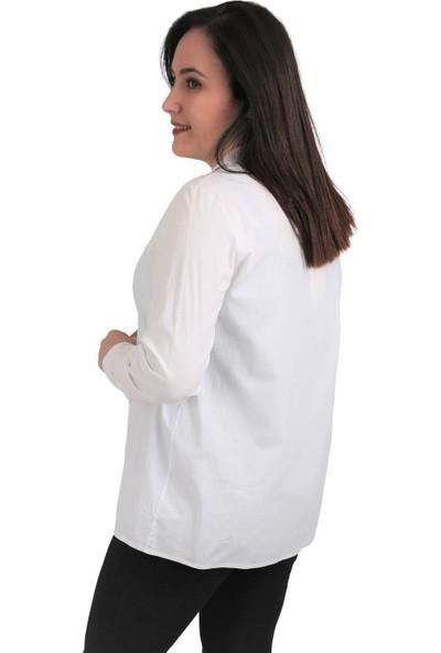 Günay Fierte Kadın Büyük Beden Gömlek LM13430 Yakalı Düğme Kapama Uzun Kol Fit Pamuk Beyaz