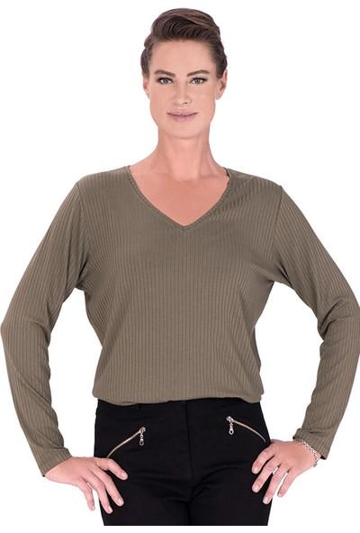 Günay Fierte Kadın Büyük Beden Bluz Ccarrow V Yaka Fitilli Penye Uzun Kol Basic Spor Bordo Haki