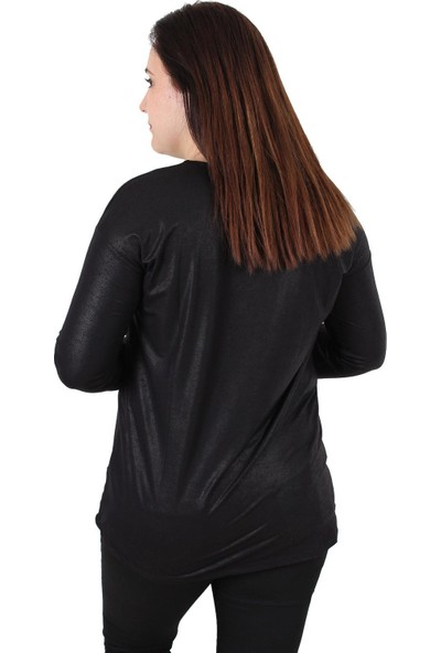 Günay Fierte Kadın Büyük Beden Bluz RG6469 Yuvarlak Yaka Taş Detay Parlak Uzun Kol Vizon Siyah