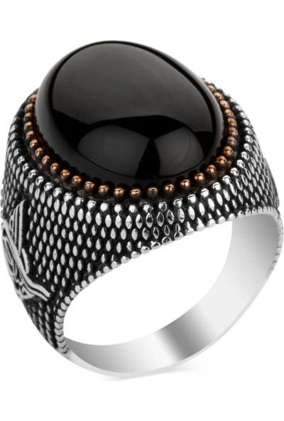 Candie Silver Siyah Oniks Taşlı Tuğra Motifli 925 Ayar Gümüş Yüzük