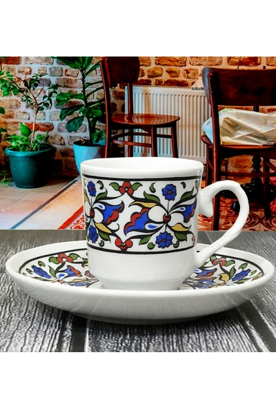 Otogar Çini Kütahyadan 6 Kişilik Porselen Türk Kahvesi Fincan Takımı