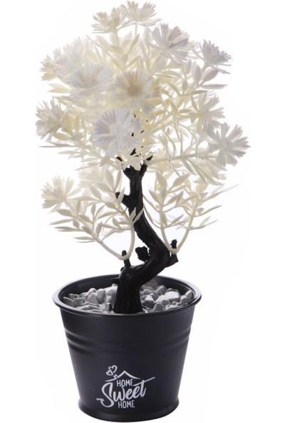 Rimmi Metal Saksı Görünümlü Dekoratif Yapay Beyaz Gül Ağacı 21 cm