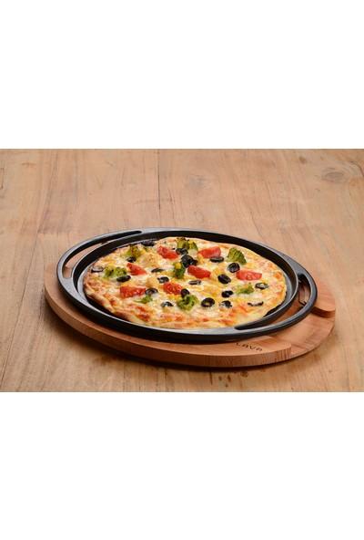 Lava Pizza, Krep, Pankek Tabağı Siyah Mat Yuvarlak Ø 28CMKAYIN Servis Ahşabı