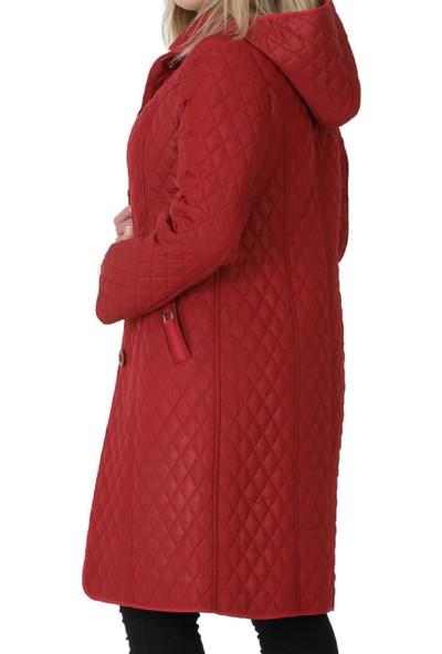 Günay Fierte Kadın Büyük Beden Kaban BŞR8003 Çıkabilen Kapüşon Düğme Kapama Uzun Kol Spor Cep Kapitone Down Coat Kahverengi Yeşil Kırmızı