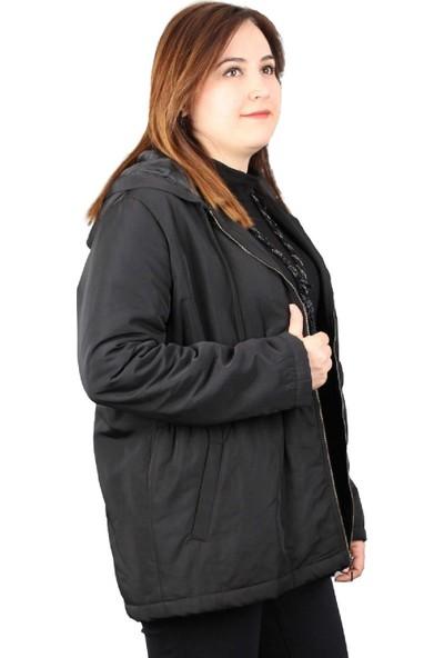 Günay Fierte Kadın Büyük Beden Mont LM46250 Sabit Kapüşon Fermuar Kapama Elastik Bel Mevsimlik Astar Cep Siyah Bordo
