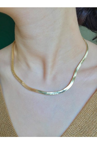 Aurora Kadın Yassı Yılan Gold Zincir