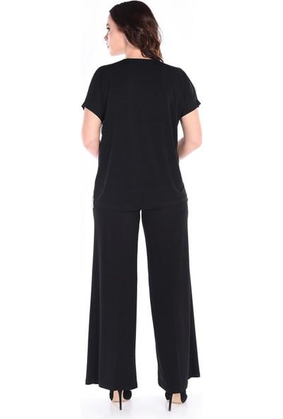 Günay Fierte Kadın Büyük Beden Bluz NLY1911148 V Yaka Ön Payet Arka Penye Düşük Kol Piton Siyah