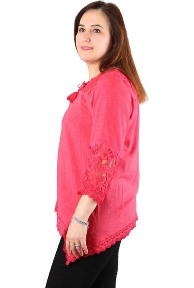 Günay Fierte Kadın Büyük Beden Bluz Mnsrgüpür Yuvarlak Yaka Dantel Pamuk Otantik Sarı Vizon