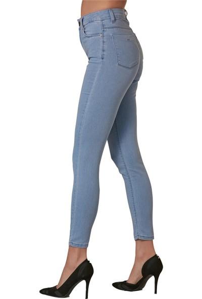 Günay Fierte Kadın Büyük Beden Pantolon RG1530 Jean Yüksek Bel Dar Paça Fermuar Kapama Düğmeli Kot Pamuk Mavi Lacivert Füme