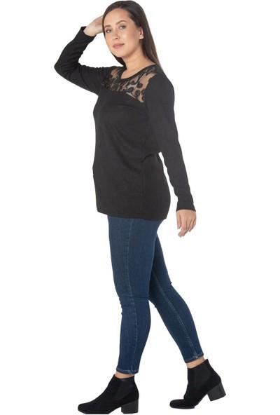 Günay Fierte Kadın Büyük Beden Bluz RG6904 Yuvarlak Yaka Dantel Detay Triko Uzun Kol Siyah