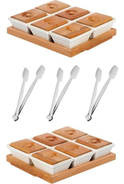 Luxury Shop 5 Parça Süper Lüks Kahvaltılık Seti 2 Adet Ahşap Tepsili 6 Bölmeli Kahvaltılık Sunum Seti ve 3 Adet Maşa