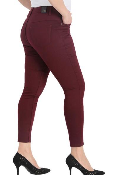 Günay Fierte Kadın Büyük Beden Pantolon NVR4037 Kanvas Normal Bel Dar Paça Fermuar Kapama Düğmeli Pamuk 5 Cep Esnek Lacivert Siyah Kahverengi Beyaz Haki Saks Mavi Bordo Taş Pudra Mor