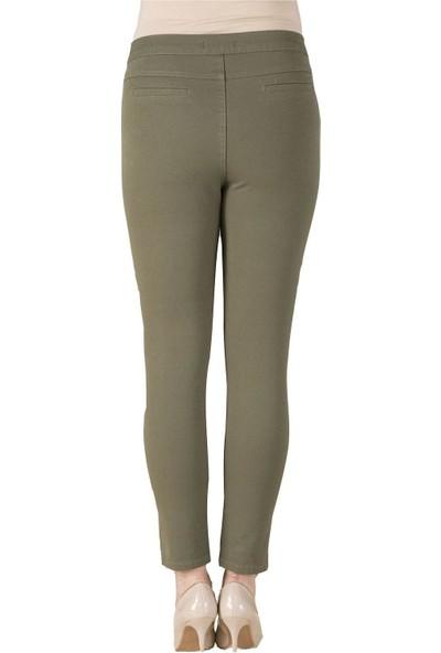 Günay Fierte Kadın Büyük Beden Pantolon RG1369P Kanvas Yüksek Bel Dar Paça Pamuk Kiremit Bordo Haki Siyah Yeşil Lacivert Antrasit Vizon Beyaz Ekru Gri Kahverengi Saks Mavi Bej Fuşya
