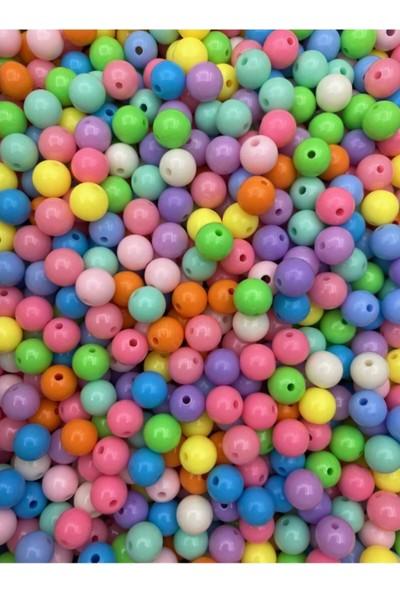 Hedef Bijuteri 25GR 10MM Pastel Karışık Renkli Yuvarlak Plastik Boncuk , Takı Yapım Boncuğu (25GR,~45 Adet)